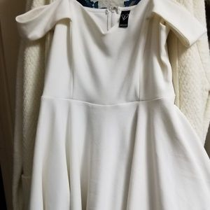 White off shoulder skater dress